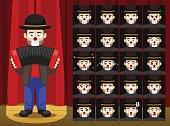 Clown Accordion Musician Costume Cartoon Emotion faces Vector Illustration