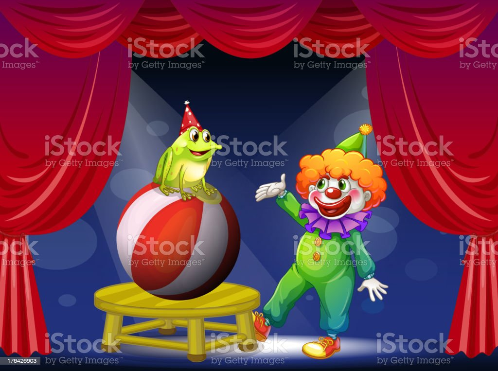 Clown and a frog performing on stage royalty-free clown and a frog performing on stage stock vector art & more images of acting