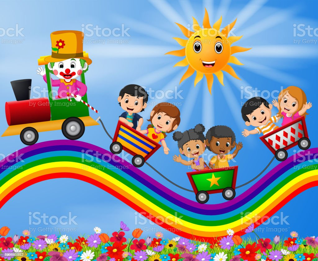 Clown and childrens travelling train on the rainbow vector art illustration