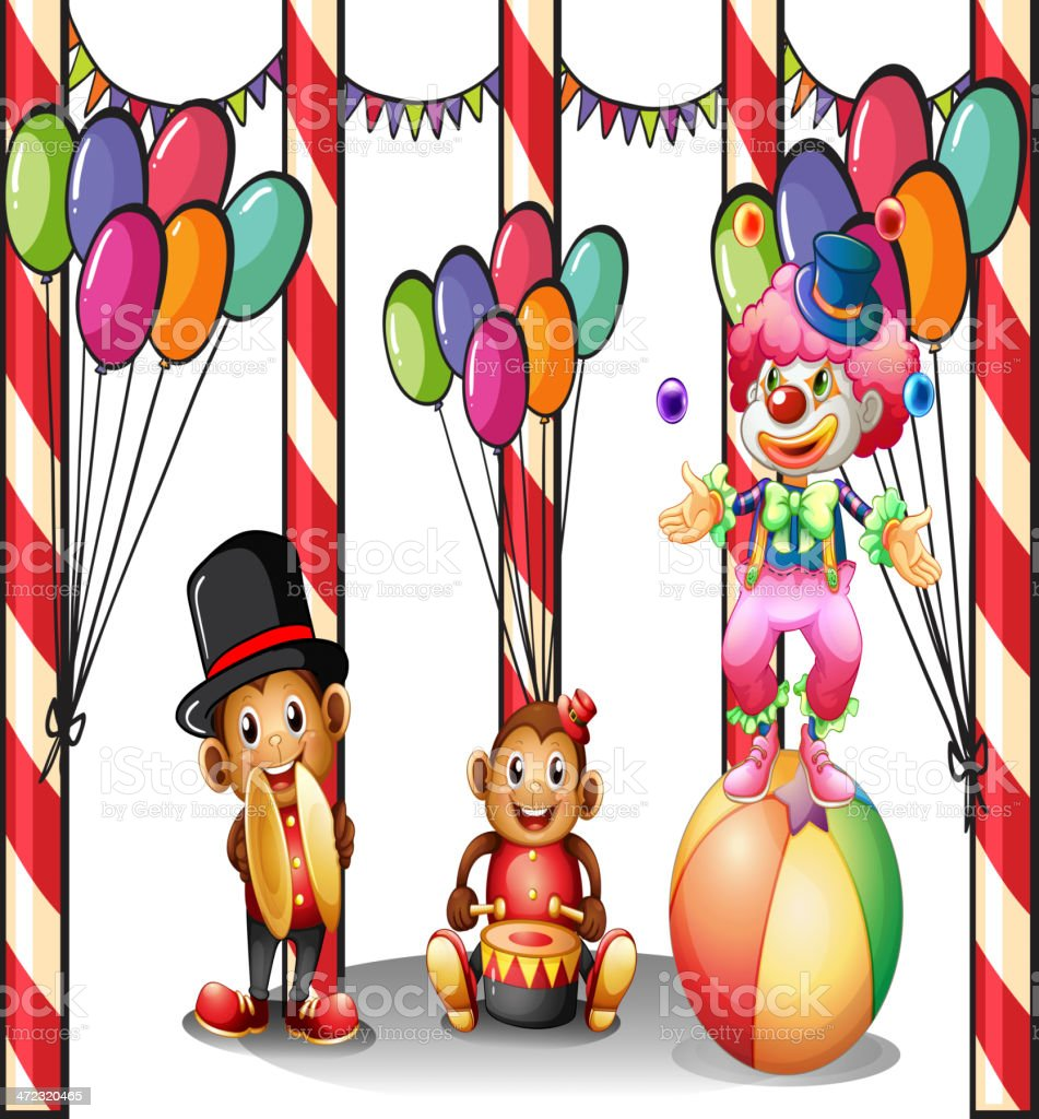 Clown and the two monkeys royalty-free stock vector art