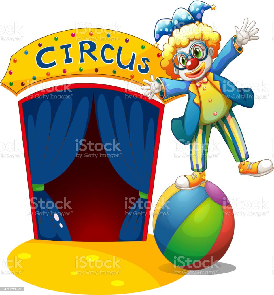 Clown at the top of ball beside a circus house royalty-free stock vector art