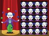 Clown Ball Trick Cartoon Emotion faces Vector Illustration