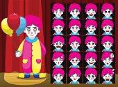 Clown Balloon Girl Costume Cartoon Emotion faces Vector Illustration