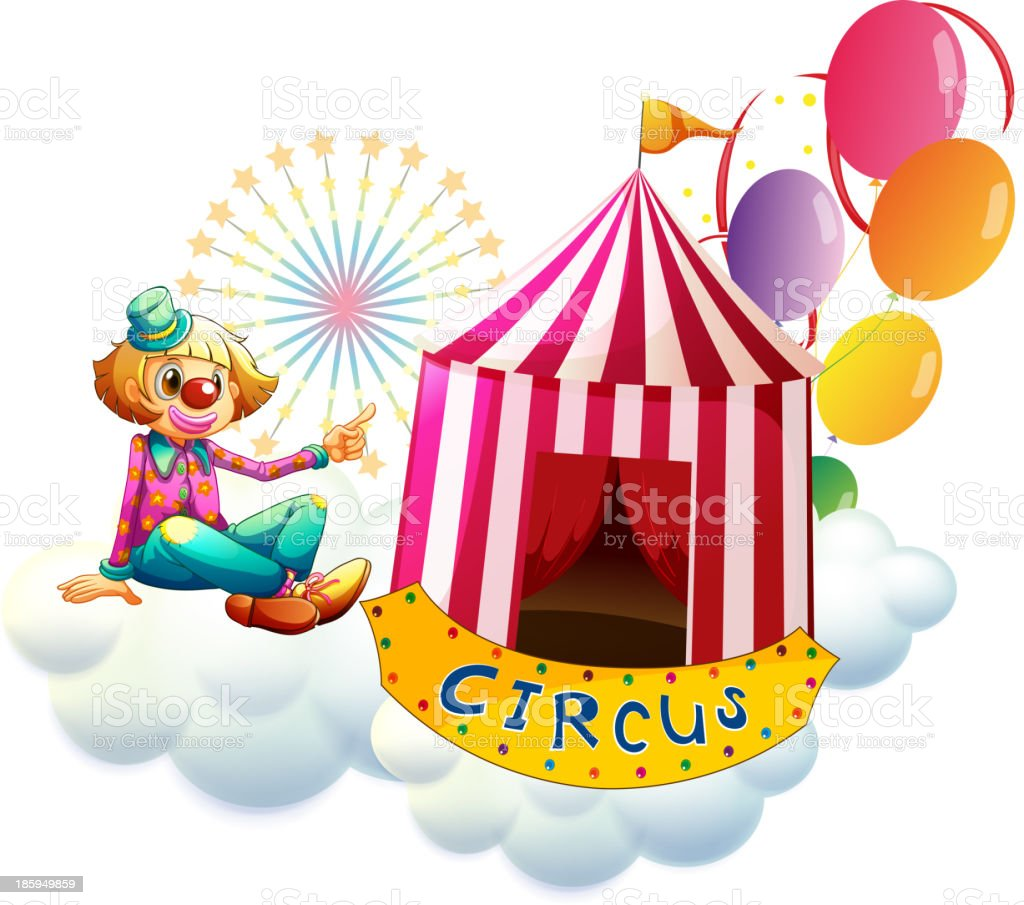 clown beside a circus tent with balloons royalty-free stock vector art