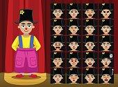 Clown Big Short Girl Costume Cartoon Emotion faces Vector Illustration