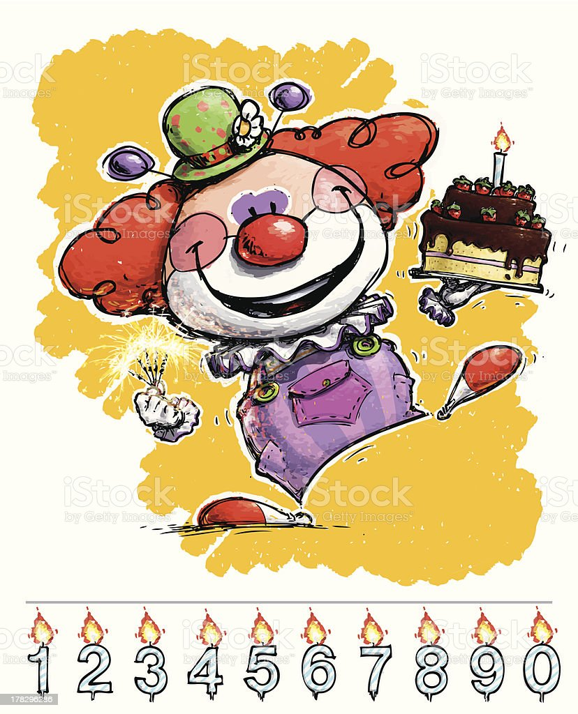 Clown Carrying a Birthday Cake royalty-free stock vector art