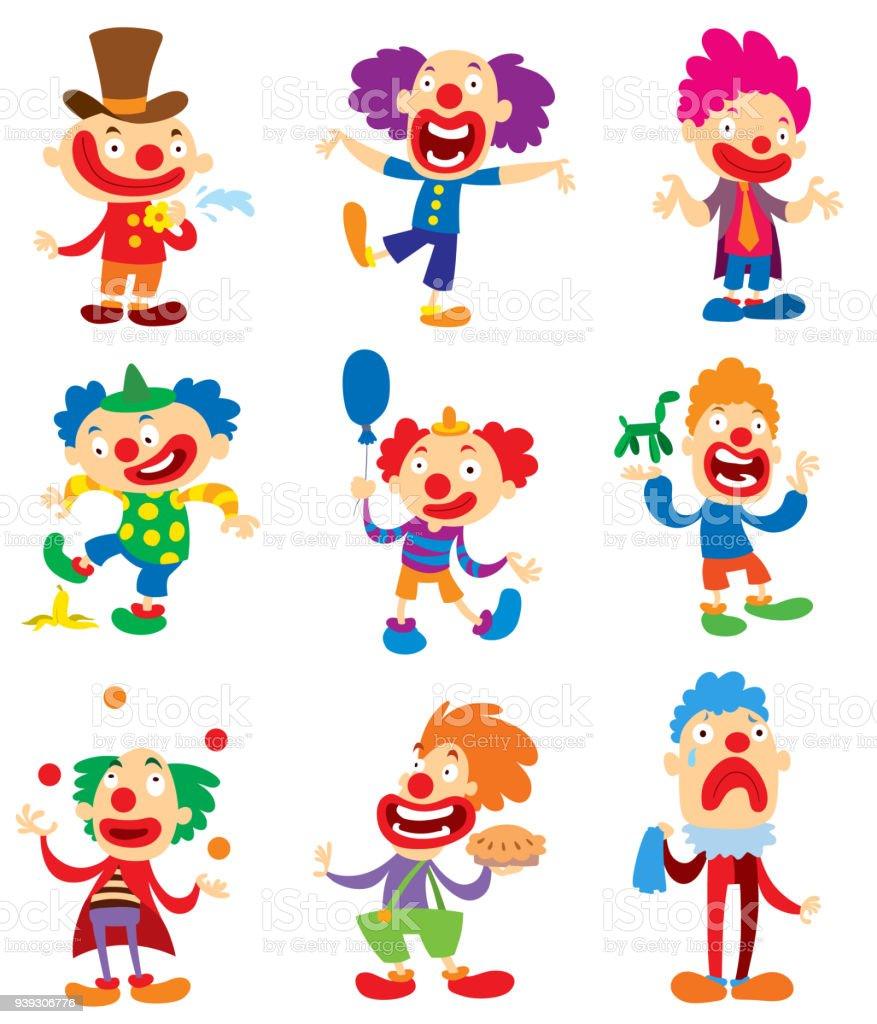 Clowncharaktervektor Durchführung Verschiedener Spaß Aktivitäten