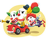 Clown Circus Performance in Car with balloons and horn, vector illustration cartoon.