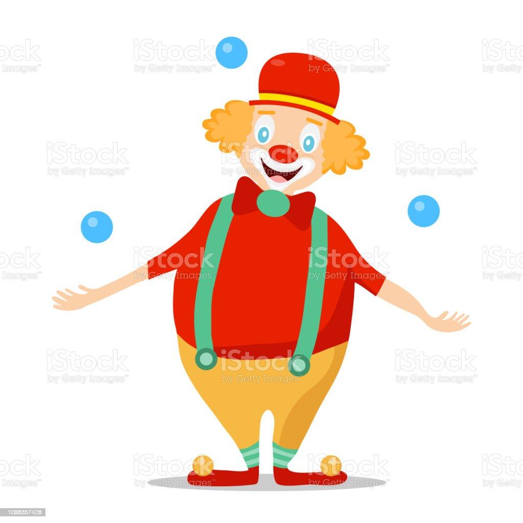 Ilustración De Clown Payaso En Una Peluca Y Sombrero Hace Juegos Malabares Con Las Bolas Azules Ilustración De Dibujos Animados De Un Payaso Y Más Vectores Libres De Derechos De Actor