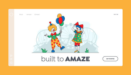 Clown Comedian in Amusement Park Landing Page Template. Big Top Smiling Joker Character with Balloons. Circus Performers