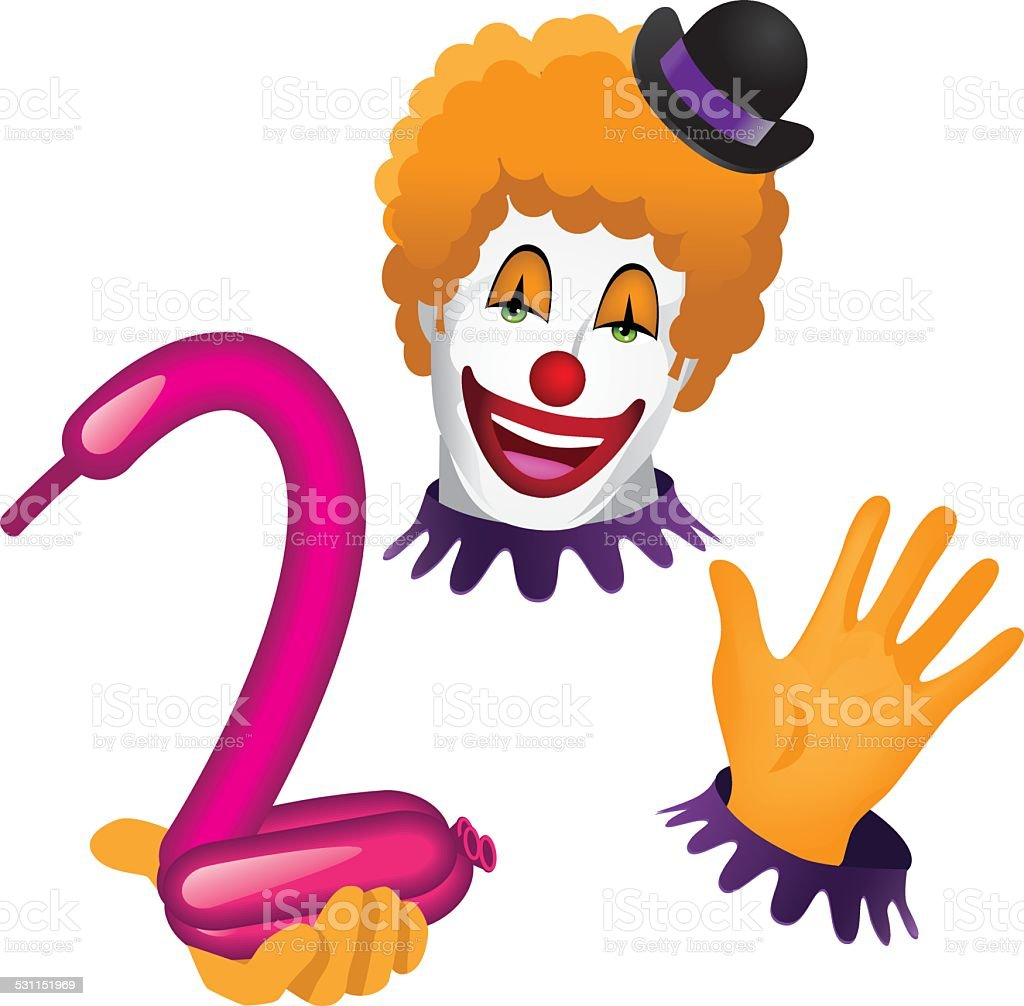 Clown face and hands with balloon animal vector art illustration