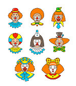 Clown faces different thin line colorful avatars