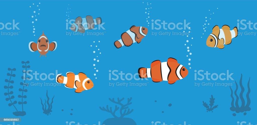 clown fish swimming in the sea vector art illustration