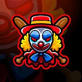 Vector illustration of Clown head mascot esport emblem design