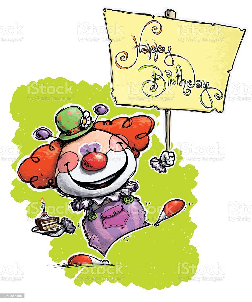 Clown Holding a Happy Birthday Placard royalty-free stock vector art