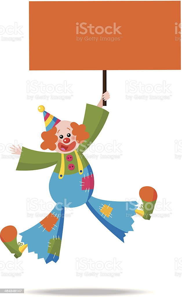 Clown holding a sign 3 royalty-free clown holding a sign 3 stock vector art & more images of banner - sign