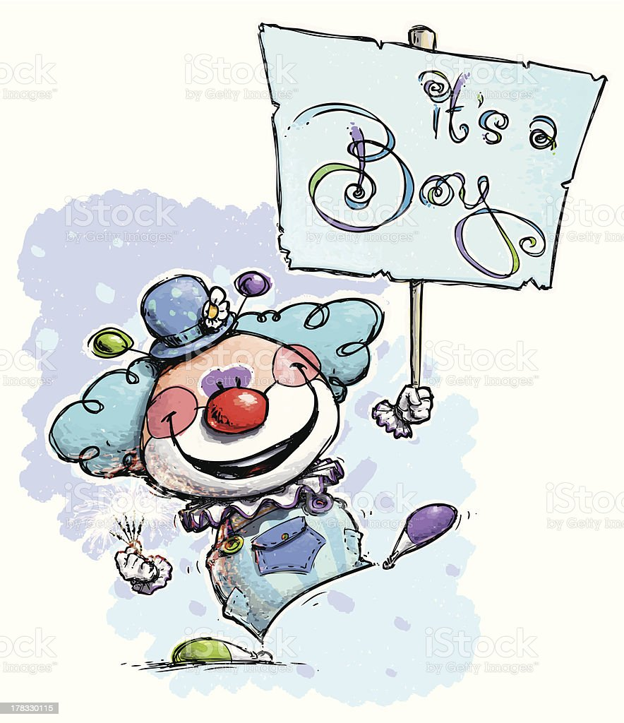 Clown Holding an It's a Boy Placard royalty-free stock vector art