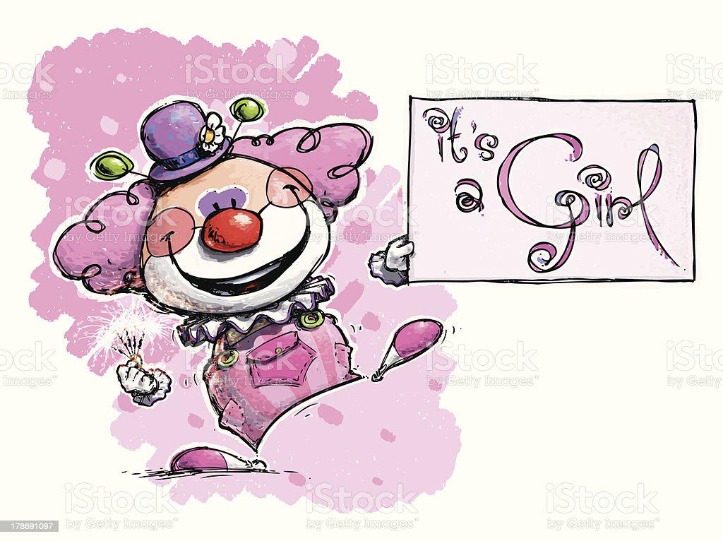 Clown Holding an It's a Girl Card royalty-free stock vector art
