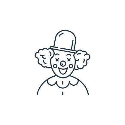 clown icon vector from kids concept. Thin line illustration of clown editable stroke. clown linear sign for use on web and mobile apps, logo, print media..