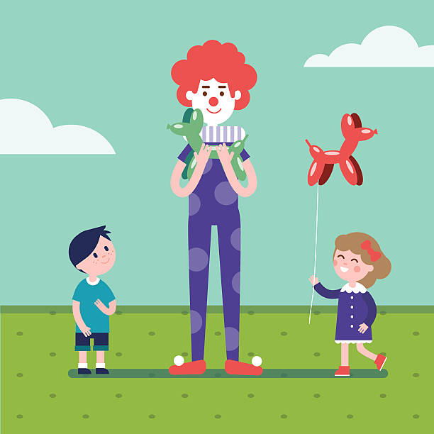 Clown Is Making Balloon Animals For Girl And Boy Vector Art Illustration