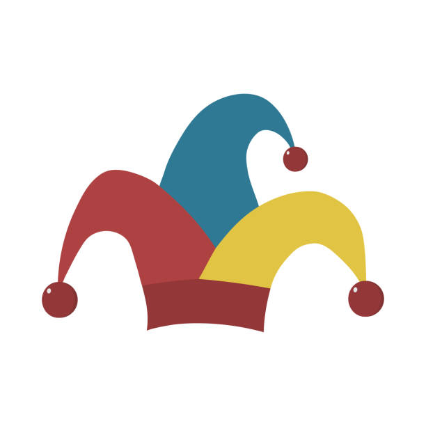 Clown jester hat flat design icon vector art illustration