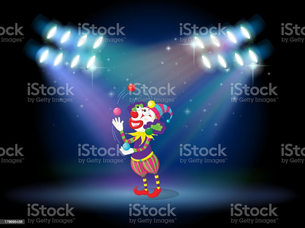 Clown juggling balls in the stage royalty-free clown juggling balls in the stage stock vector art & more images of artist