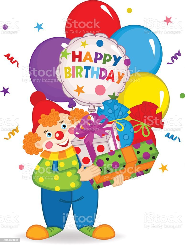 Clown Keeps Balloons And Birthday Gifts Lizenzfreies Stock Vektor Art
