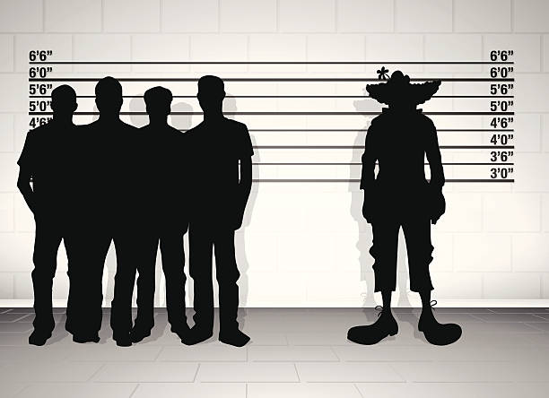 clown line up illustration of a clown in a police lineup police line up stock illustrations