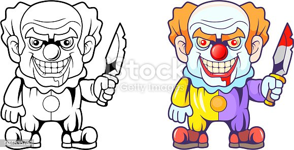 Scary Clown Coloring Page Kucuk Resim Bedava Indir