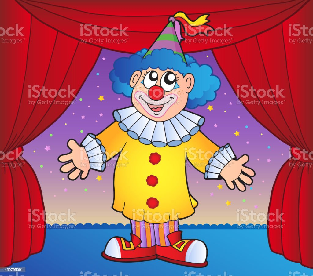 Clown on circus stage 1 royalty-free clown on circus stage 1 stock vector art & more images of adult