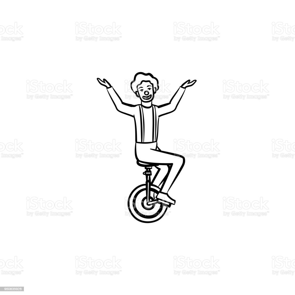 Clown On One Wheel Bicycle Hand Drawn Sketch Icon Stock Illustration