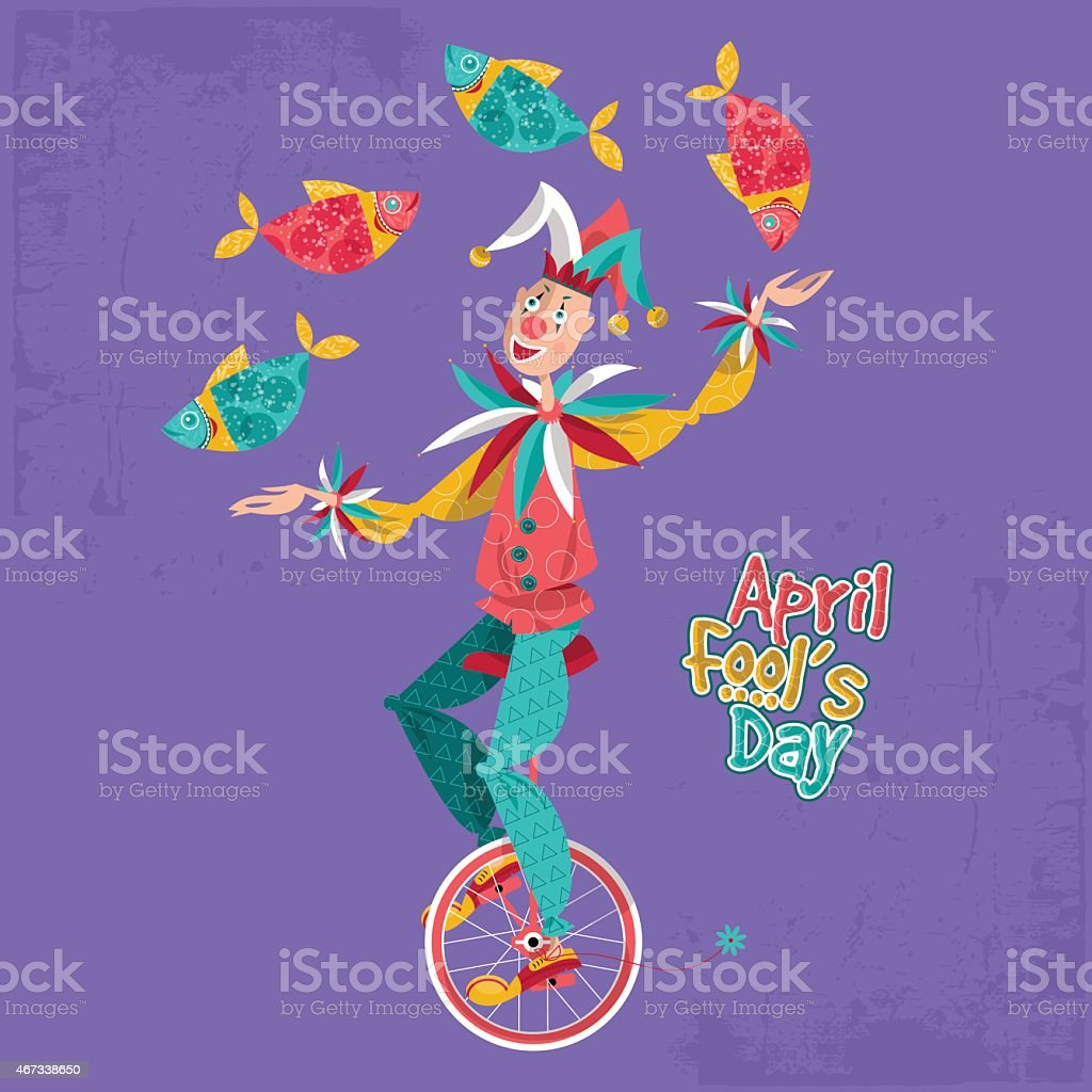 Clown on unicycle juggling fish. April Fool's Day. vector art illustration