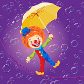 Clown on Wire with Umbrella