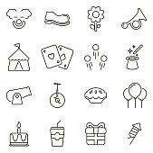 Clown or Clown Tricks & Equipment Icons Thin Line Vector Illustration Set