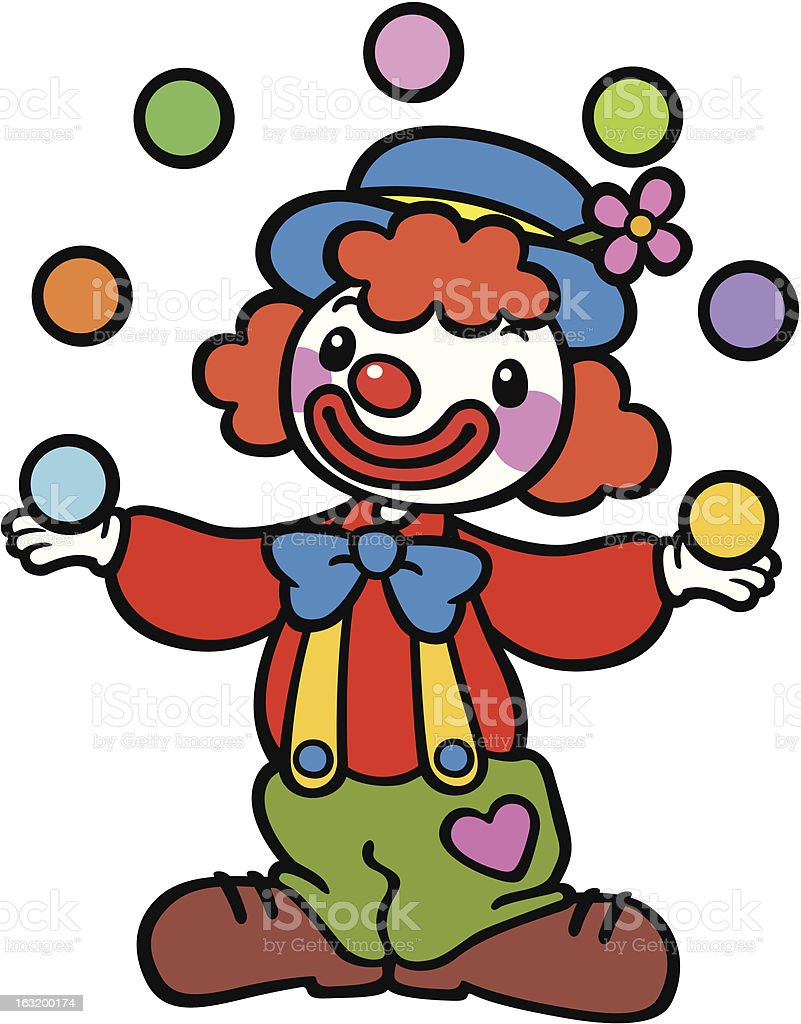 Clown playing ball royalty-free stock vector art