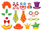 Clown props set, funny colorful booth elements. Masquerade and birthday costume. Vector flat style cartoon illustration isolated on white background