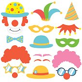 Clown props set. Party  funnyman birthday photo booth props. Hat, wig, nose, funny glasses, cap, mask, bow tie. Vector illustration clown photo booth props. Clown props.
