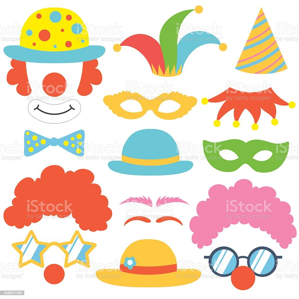 Clown props set vector art illustration