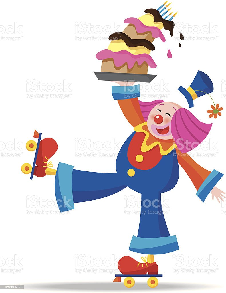 Clown rollerskating with a birthday cake vector art illustration