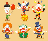 Set of six clown performing different activities.
