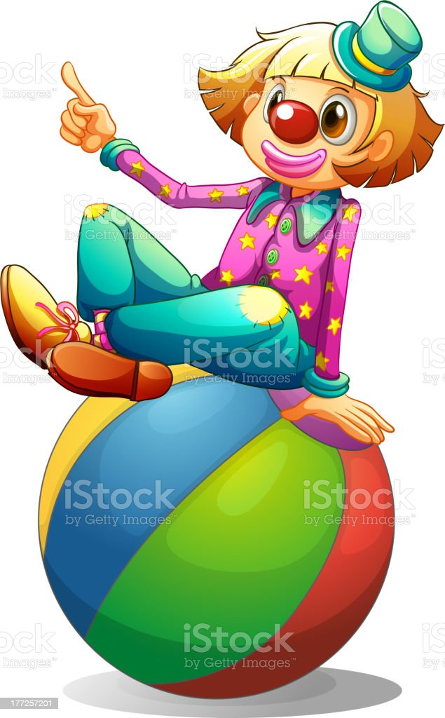 Clown sitting on a ball royalty-free stock vector art