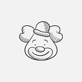 Clown sketch icon
