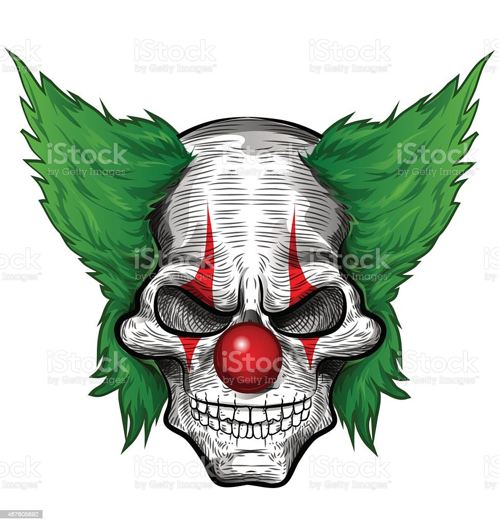clown skull isolated vector art illustration