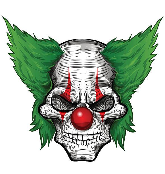 clown skull isolated vector art illustration