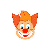 Clown smiley face - different carnival mask, clown emoticon icons, avatar, booth props. Vector flat icon. Clown Cartoon character illustration isolated on white background. Circus men and girl smiling head portrait with makeup, hair and hats, happiness. Decoration for Kids Party Masquerade, Birthday, Purim, Carnival Holiday