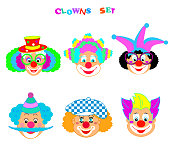 Clown smiley faces - different carnival mask, clown emoticon icons set, avatar, booth props. Vector flat icons. Clowns Cartoon characters illustration isolated on white background. Circus men and girl smiling head portraits with different makeup, hair and hats, happiness. Kids Party Masquerade, Birthday, Purim, Decoration