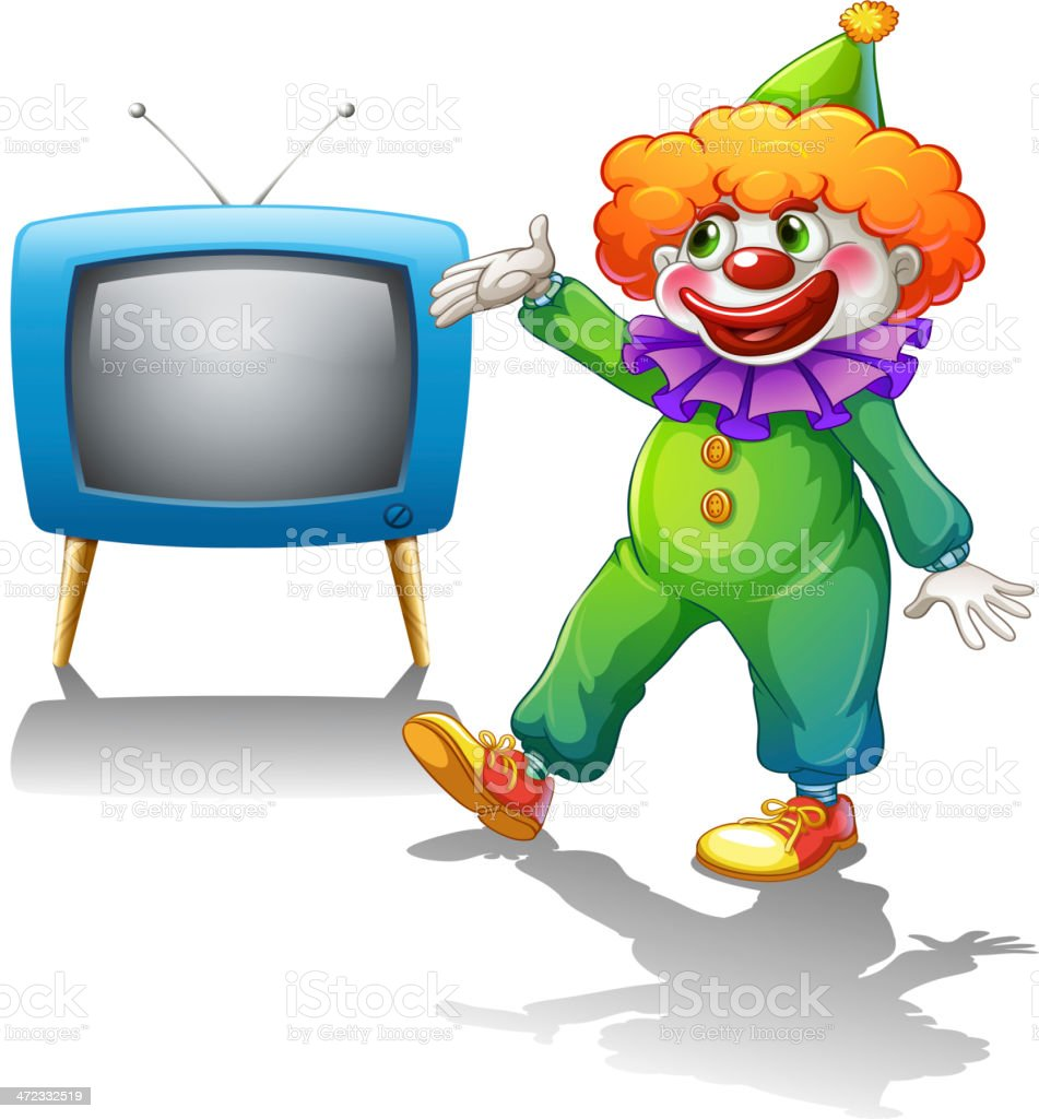 Clown standing in front of a television royalty-free stock vector art