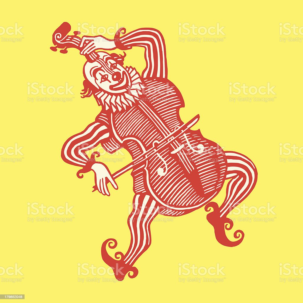 Clown Wearing a Cello Costume royalty-free stock vector art