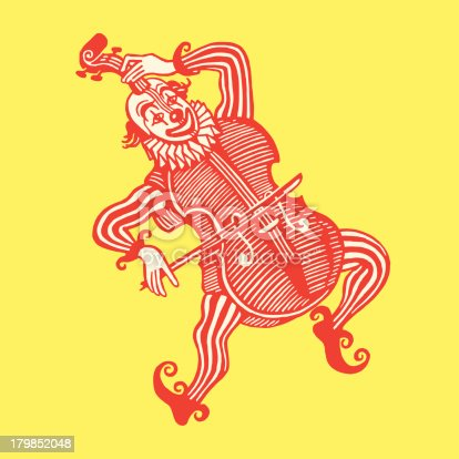Clown Wearing a Cello Costume