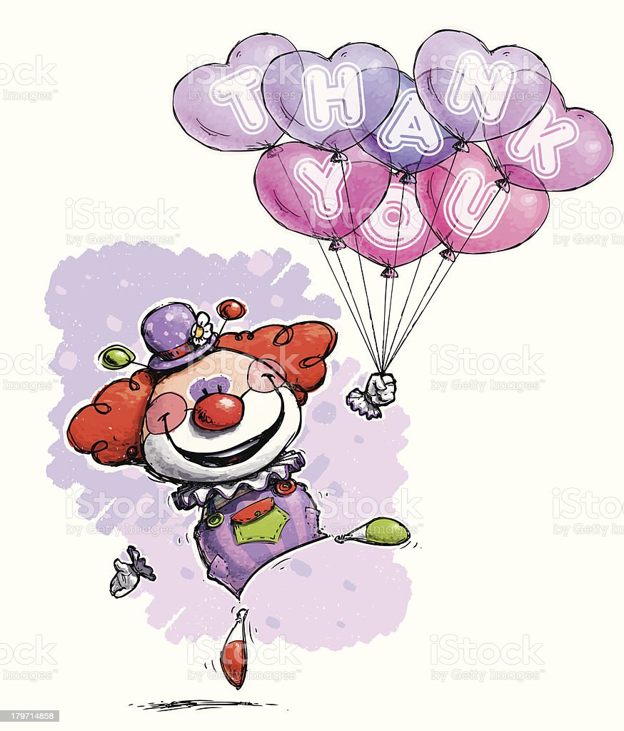 Clown with Heart Balloons Saying 'Thank You' royalty-free stock vector art